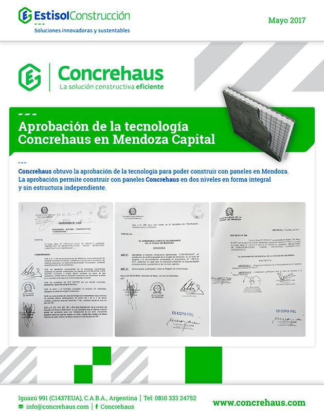 Aprobación de la tecnología Concrehaus en Mendoza Capital